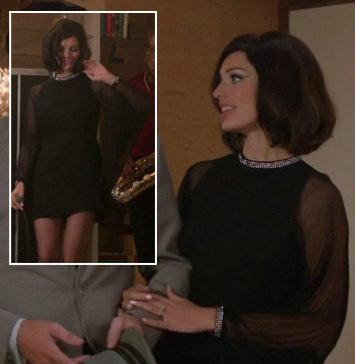 Megan's black shift dress with long sleeves on Mad Men