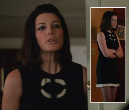 Megan's black shift with white trim on Mad Men