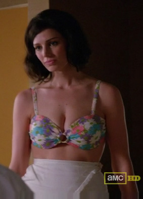 Megan's floral bikini on Mad Men