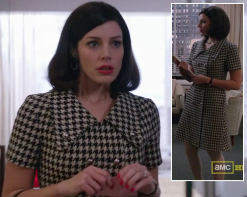 Megan's double breasted houndstooth dress on Mad Men