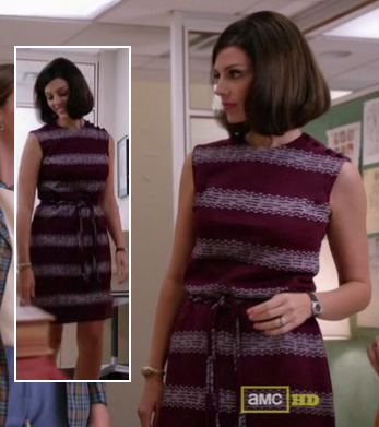 Megan's purple tie waist dress on Mad Men