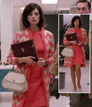 Megan's coral chevron striped coat and white bag on Mad Men