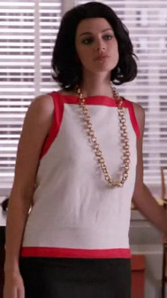 Megan Draper's white shift dress and thick chain necklace on Mad Men