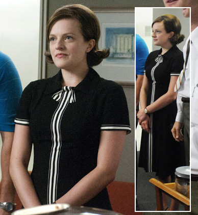 Peggy Olson's black and white stripe dress on Mad Men