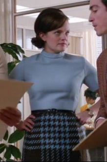 Peggy's pastel blue sweater top on Mad Men