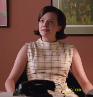 Peggy's cream plaid dress on Mad Men