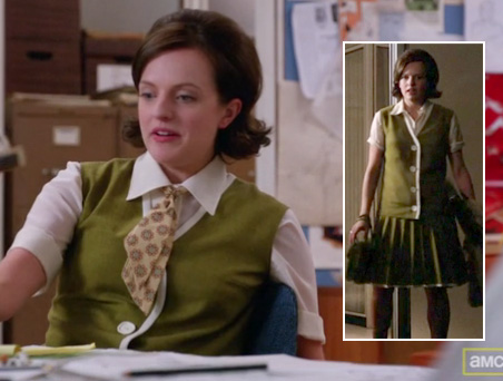 Peggy Olson's green vest with white buttons on Mad Men
