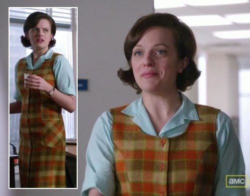 Peggy's yellow plaid dress over a mint green top