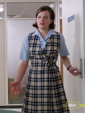 Peggy Olson's check wrap dress on Mad Men
