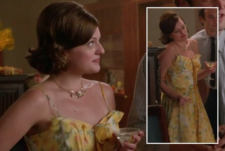 Peggy's yellow floral dress on Mad Men