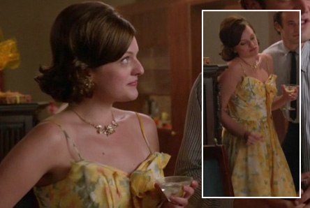 Peggy's yellow floral dress and flower necklace on Mad Men