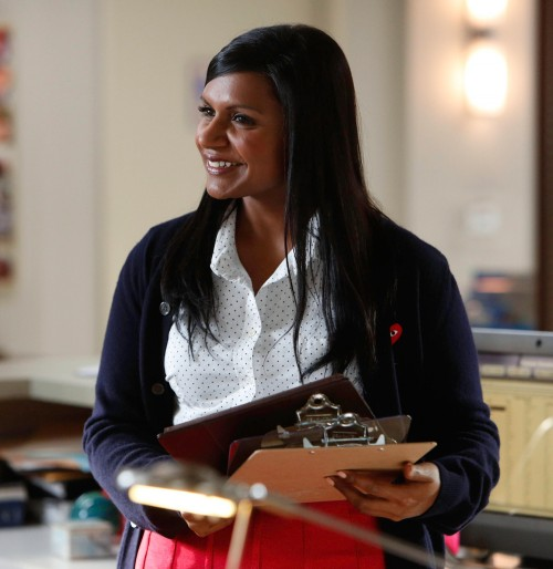 Mindy Kaling's red skirt on The Mindy Project