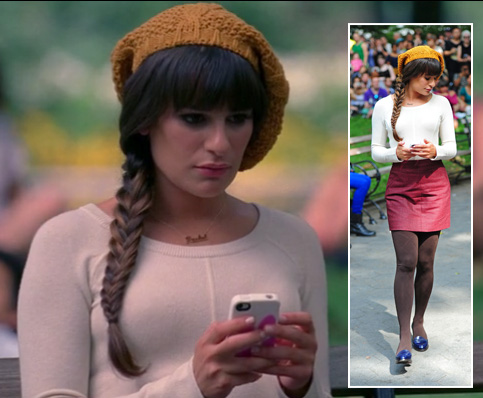 Rachel's yellow knit beanie, red skirt and brown tights on Glee