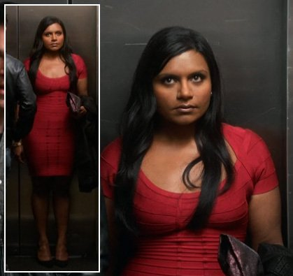 Mindy's red bandage/bodycon dress worn on her date on Mindy Project