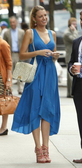 Serena van der Woodsen's blue dress on Gossip Girl