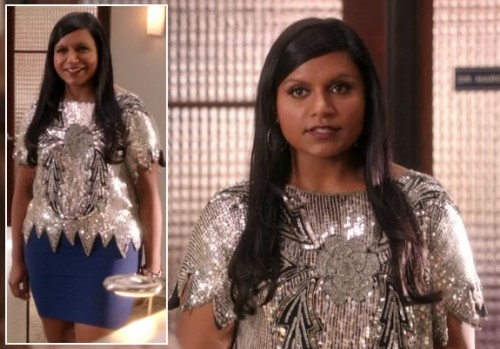 Mindy's blue bodycon skirt on The Mindy Project