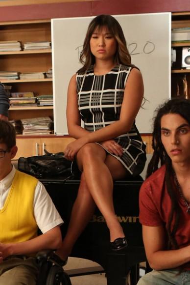 Tina's black and white check shift dress on Glee