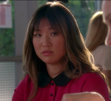 Tina's hot pink dress with black peter pan collar on Glee