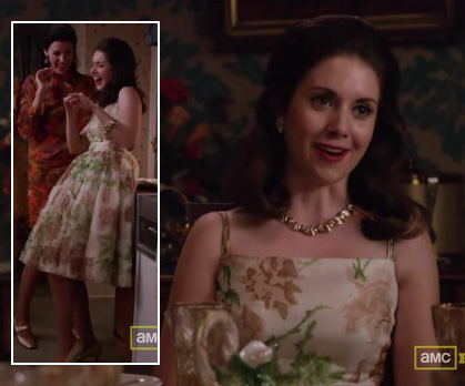 Trudy's cream floral dress on Mad Men