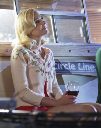 Lemon's flower embroidered cardigan on Hart of Dixie