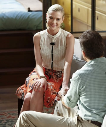 Lemon's orange floral pleated skirt on Hart of Dixie