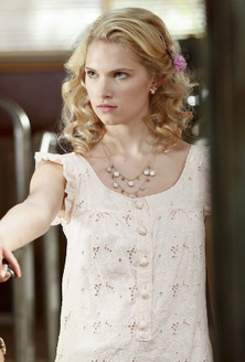 Magnolia's peach eyelet dress with ruffles on Hart of Dixie
