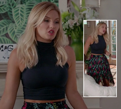 Alex's floral wrap/dipped hem skirt with navy crop top on Happy Endings