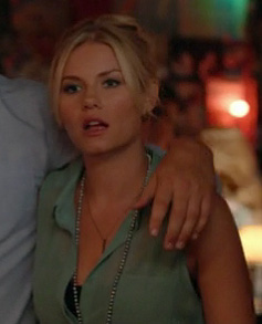 Alex's mint green collared top on Happy Endings