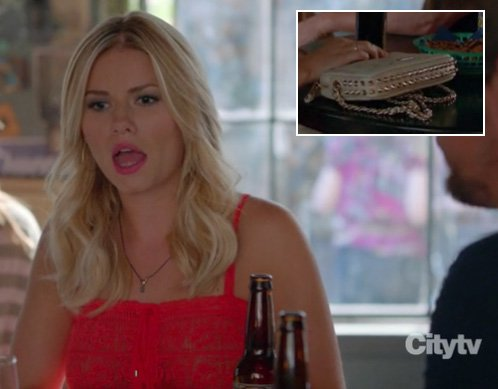 Alex's red lace top and stud bag on Happy Endings season 3