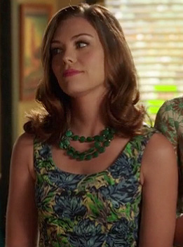 Annabeth's blue and green printed dress on Hart of Dixie
