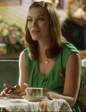 Annabeth's green bird print dress on Hart of Dixie