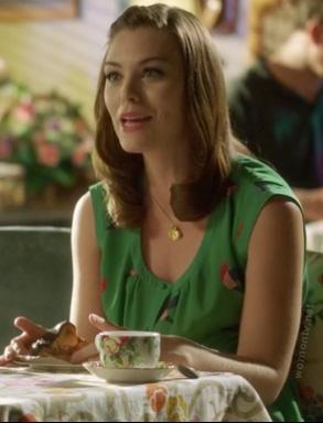 Annabeth's green bird print dress on Hart of Dixie