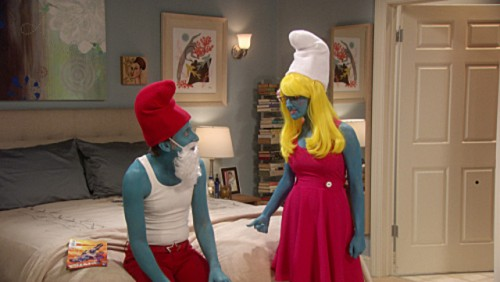 Bernadette's pink smurf dress on The Big Bang Theory