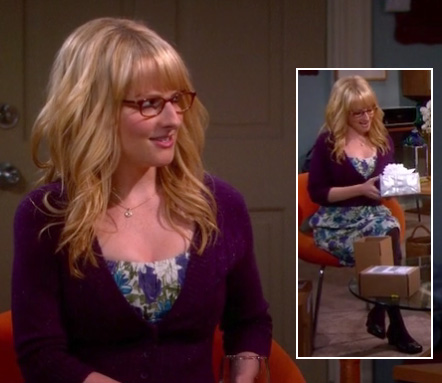 Bernadette's purple/blue/green floral dress and cardigan on The Big Bang Theory