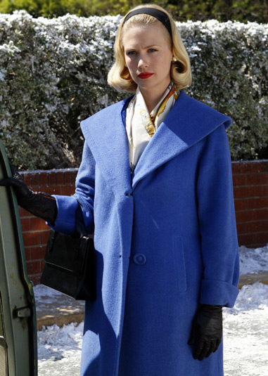 Betty Draper's blue coat on Mad Men