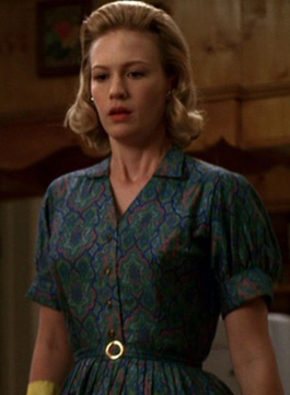 Betty's blue and green patterned shirtdress on Mad Men