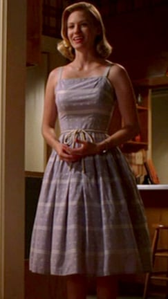 Betty Draper's blue dress with tie waist on Mad Men