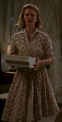 Betty Draper's patterned wrap dress on Mad Men