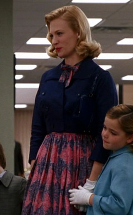 Betty's red and blue patterned dress on Mad Men