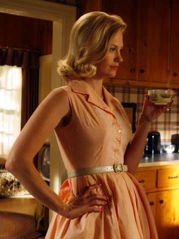 Betty Draper's peach shirtdress on Mad Men