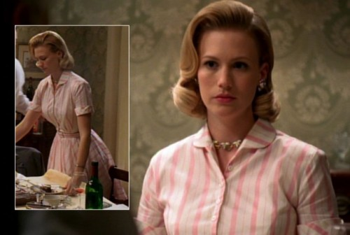 Betty's pink striped shirtdress on Mad Men