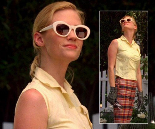Betty Draper's white sunglasses on Mad Men