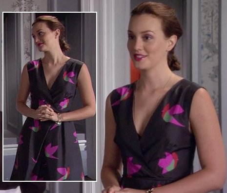 Blair's black and pink bird print dress on Gossip Girl