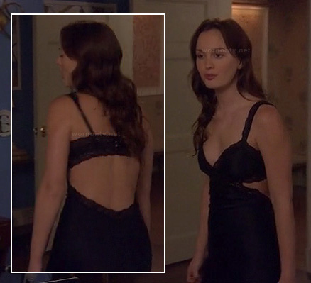 Blair's navy cutout chemise on Gossip Girl season 6