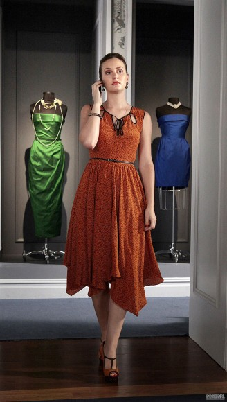 Blair Waldorf's orange cutout dress on Gossip Girl