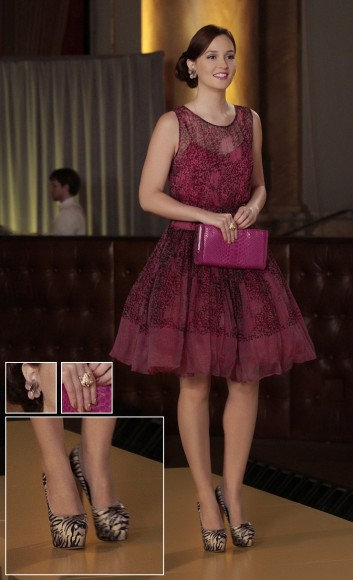 Blairs pink dress and clutch with big flower earrings on Gossip Girl