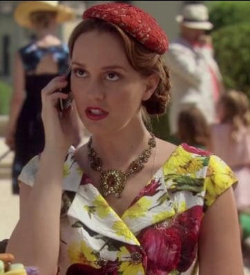 Blair's red onion print dress and lace hat on Gossip Girl