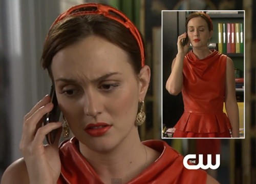 Blair's red leather peplum outfit on Gossip Girl season 6