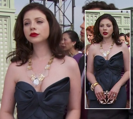 Georgina's black strapless gown and black and white purse on Gossip Girl