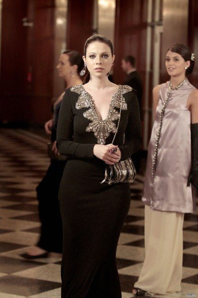 Georgina's black gown with silver collar on Gossip Girl